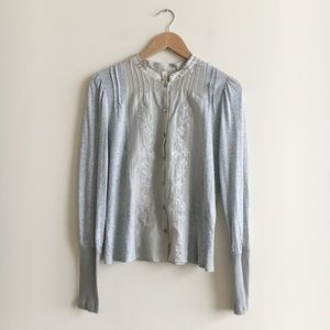 Anthropologie TINY Grey Silver Embroidered Top